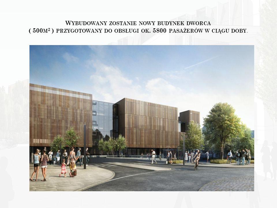 Wybudowany zostanie nowy budynek dworca ( 500m2 ) przygotowany do obsługi ok.