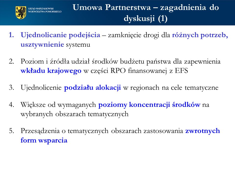 Umowa Partnerstwa – zagadnienia do dyskusji (1)