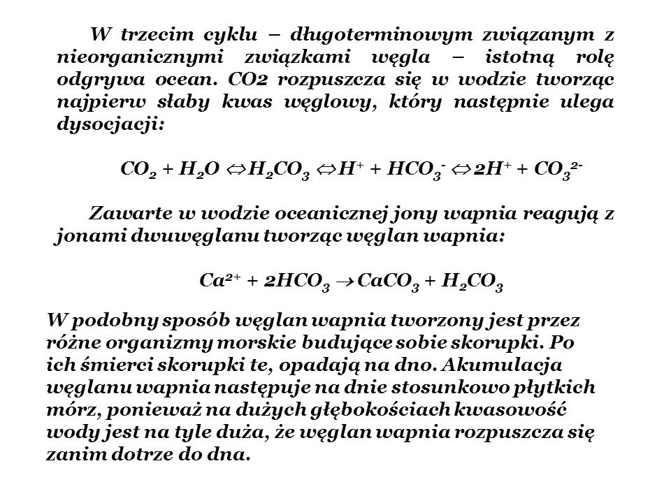 CO2 + H2O  H2CO3  H+ + HCO3-  2H+ + CO32-