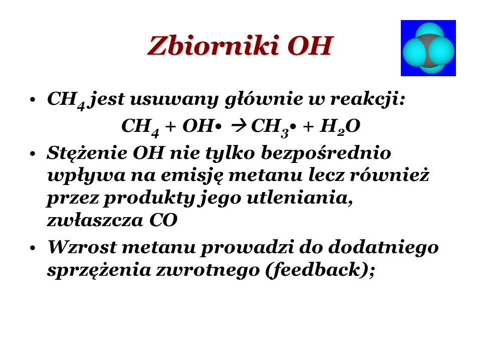 Zbiorniki OH CH4 jest usuwany głównie w reakcji: