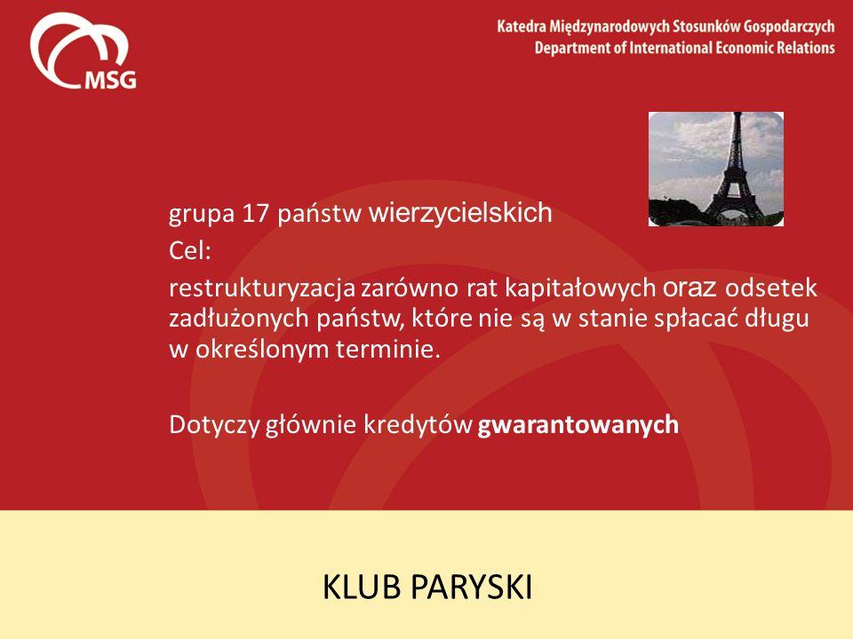 KLUB PARYSKI grupa 17 państw wierzycielskich Cel: