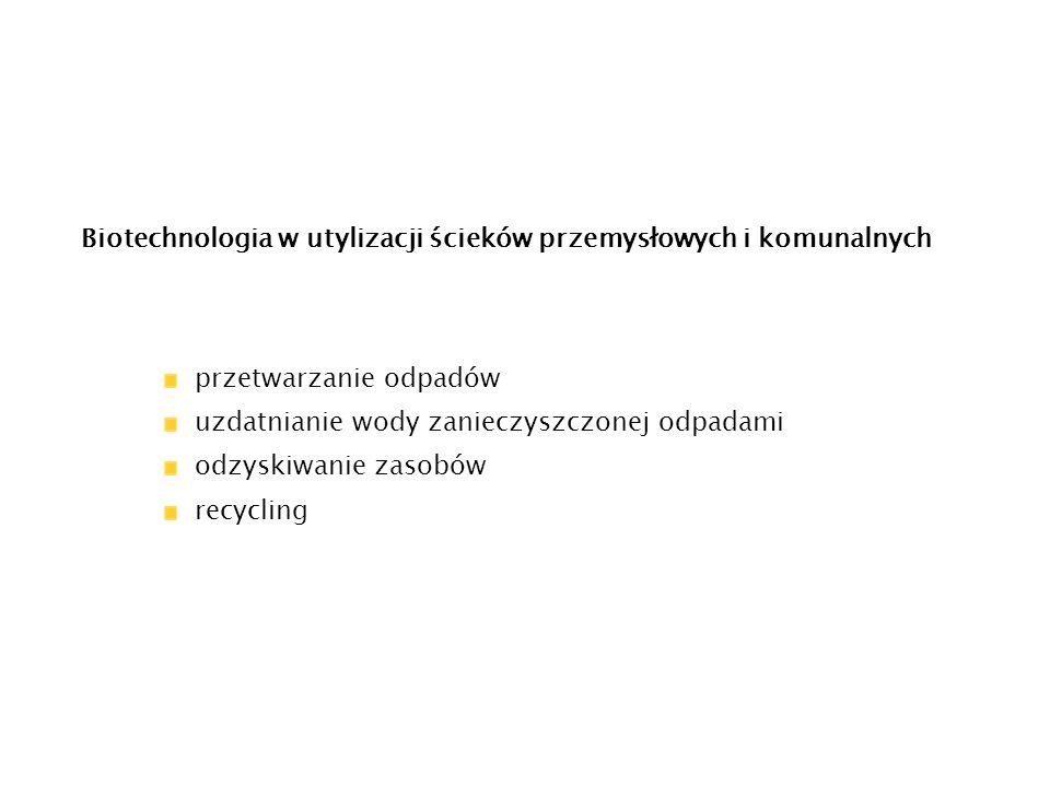 Biotechnologia w utylizacji ścieków przemysłowych i komunalnych