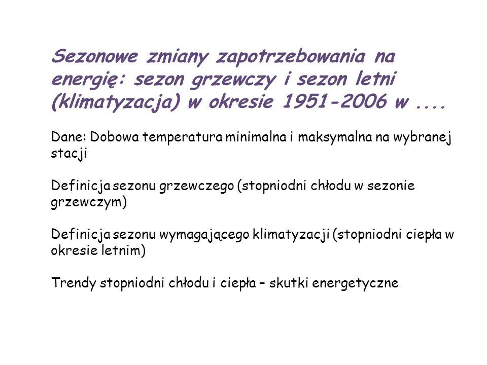 Sezonowe zmiany zapotrzebowania na energię: sezon grzewczy i sezon letni (klimatyzacja) w okresie 1951-2006 w ....