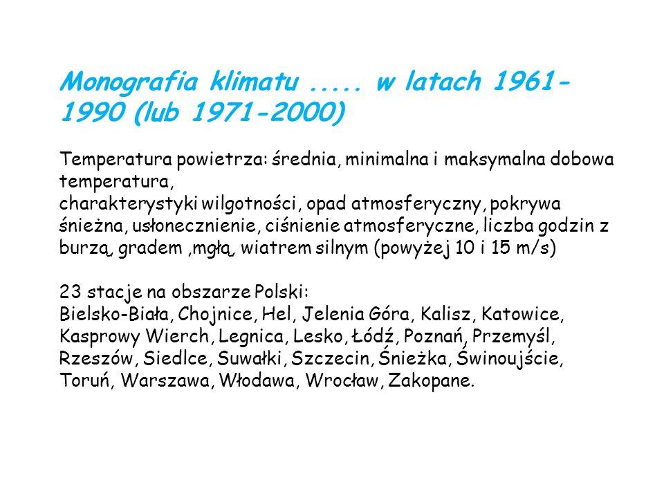 Monografia klimatu ..... w latach 1961-1990 (lub 1971-2000)