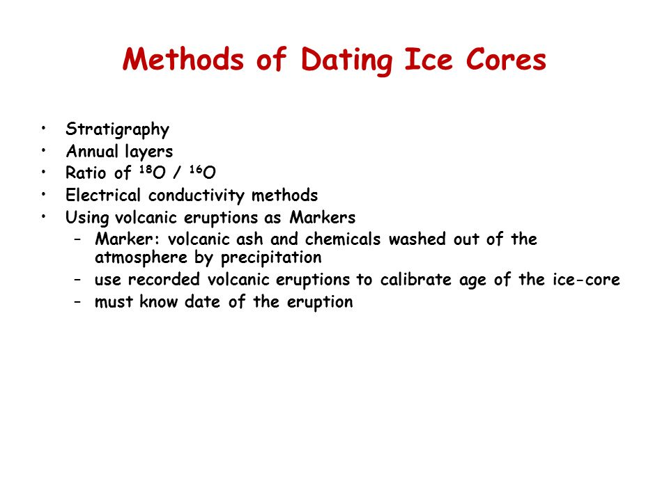 Methods of Dating Ice Cores