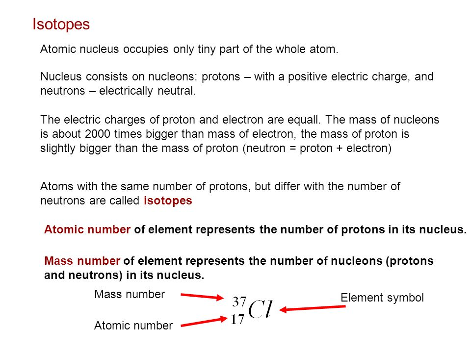 Isotopes Atomic nucleus occupies only tiny part of the whole atom.
