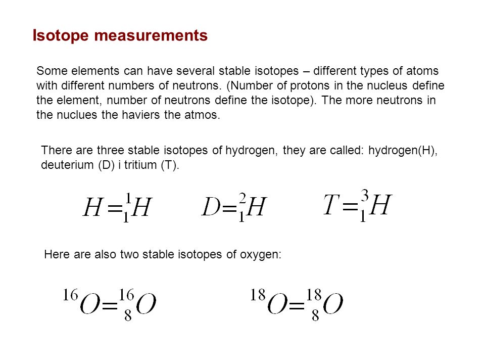 Isotope measurements