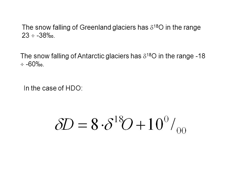 The snow falling of Greenland glaciers has 18O in the range