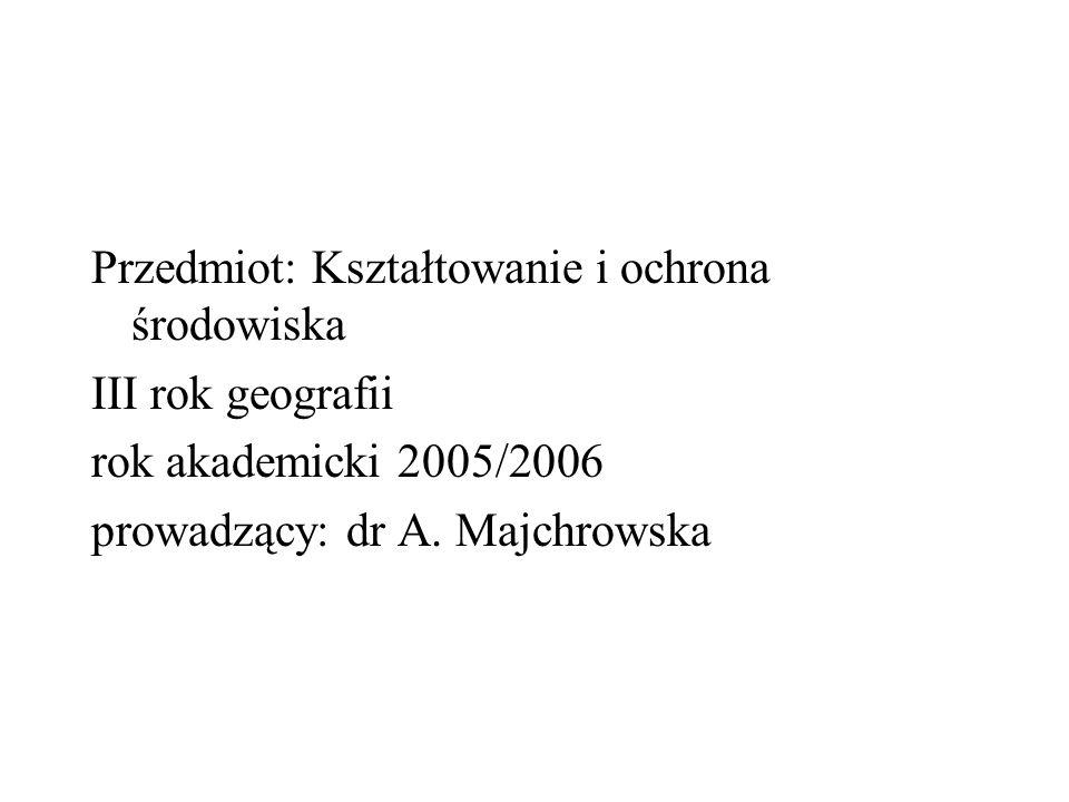 Przedmiot: Kształtowanie i ochrona środowiska
