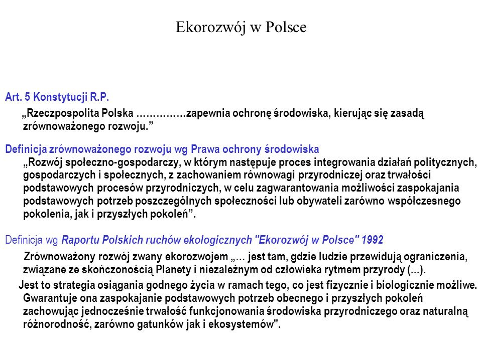 Ekorozwój w Polsce Art. 5 Konstytucji R.P.