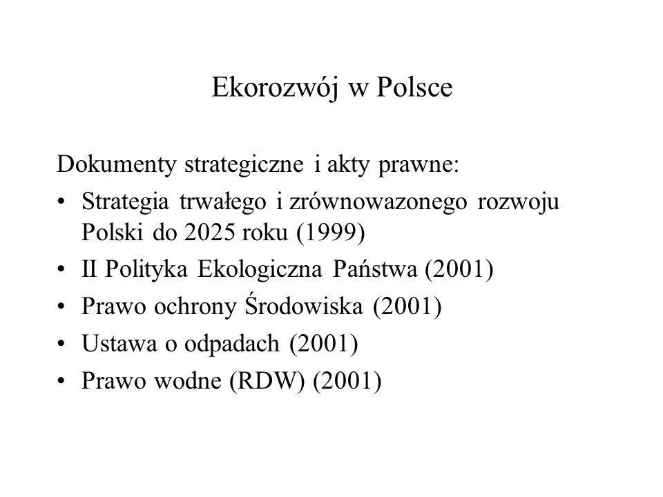 Ekorozwój w Polsce Dokumenty strategiczne i akty prawne: