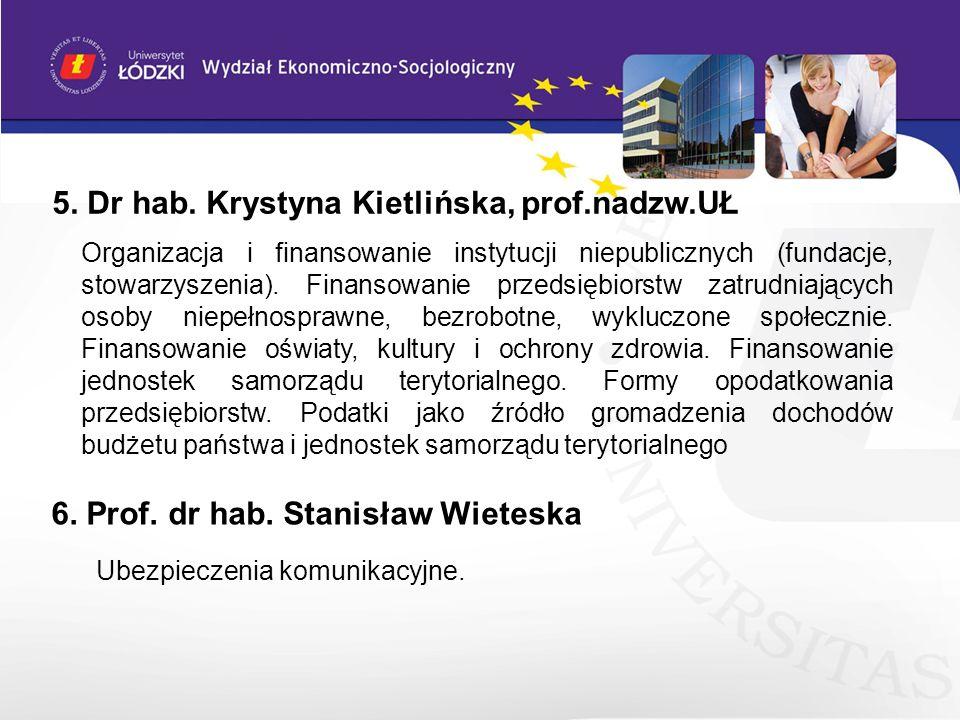 5. Dr hab. Krystyna Kietlińska, prof.nadzw.UŁ