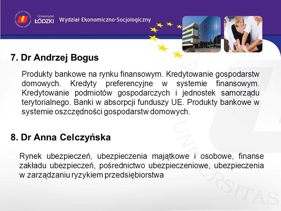 7. Dr Andrzej Bogus 8. Dr Anna Celczyńska