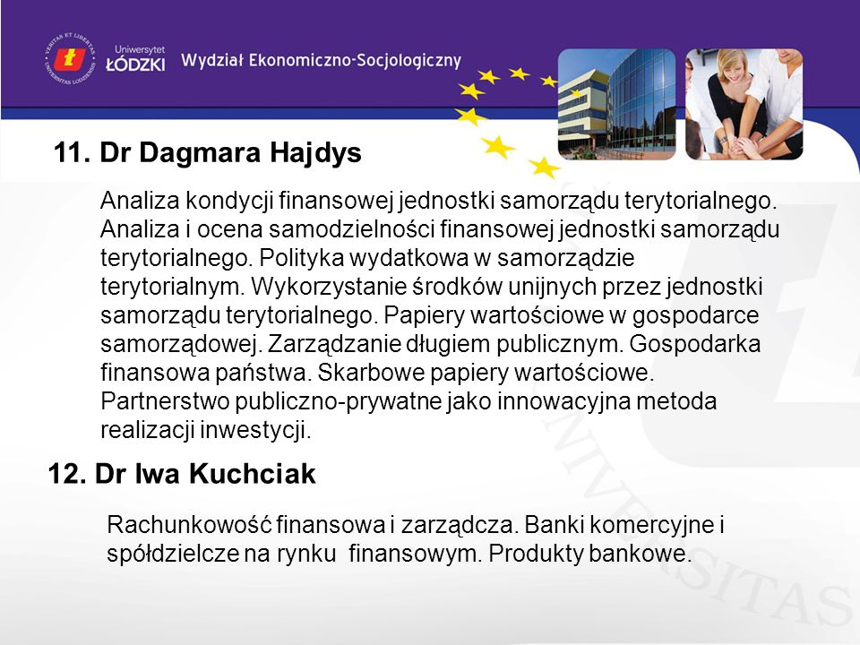 11. Dr Dagmara Hajdys 12. Dr Iwa Kuchciak