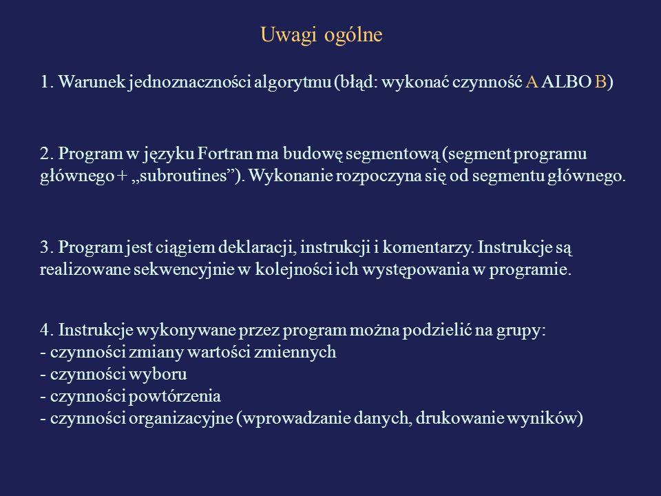 Uwagi ogólne 1. Warunek jednoznaczności algorytmu (błąd: wykonać czynność A ALBO B)