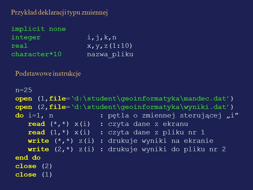 Przykład deklaracji typu zmiennej