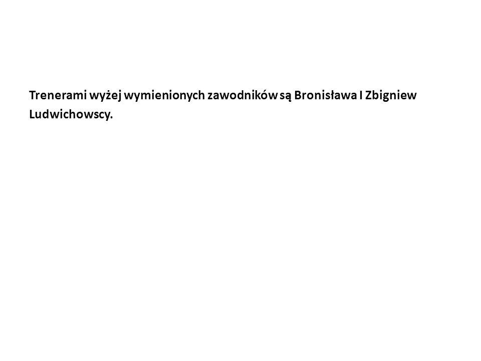 Trenerami wyżej wymienionych zawodników są Bronisława I Zbigniew Ludwichowscy.