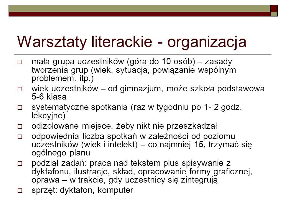 Warsztaty literackie - organizacja