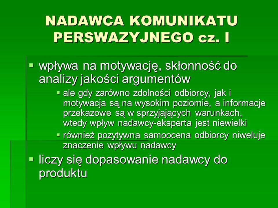 NADAWCA KOMUNIKATU PERSWAZYJNEGO cz. I