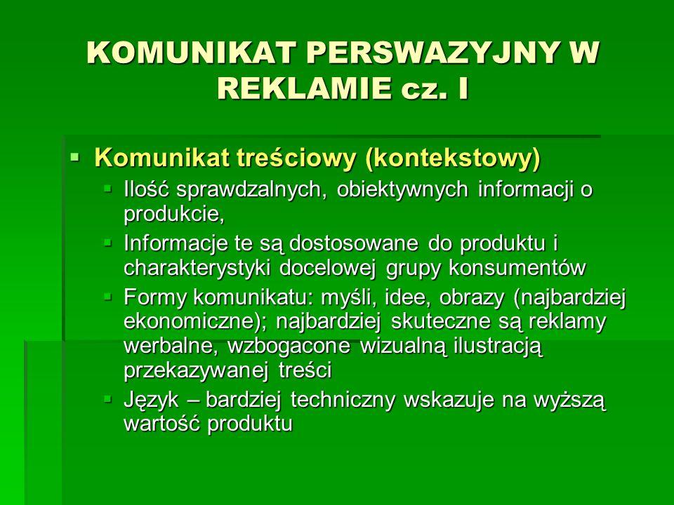 KOMUNIKAT PERSWAZYJNY W REKLAMIE cz. I
