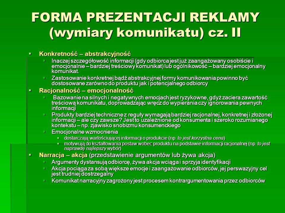 FORMA PREZENTACJI REKLAMY (wymiary komunikatu) cz. II