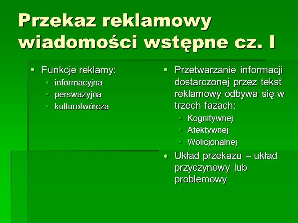 Przekaz reklamowy wiadomości wstępne cz. I