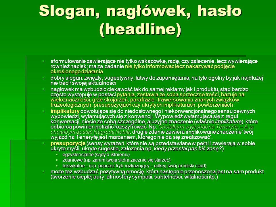 Slogan, nagłówek, hasło (headline)