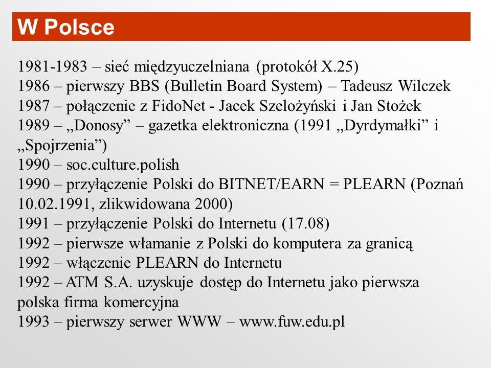 W Polsce 1981-1983 – sieć międzyuczelniana (protokół X.25)