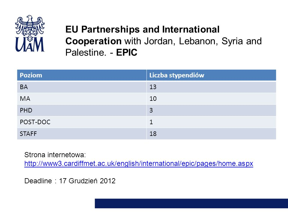 EU Partnerships and International Cooperation with Jordan, Lebanon, Syria and Palestine. - EPIC