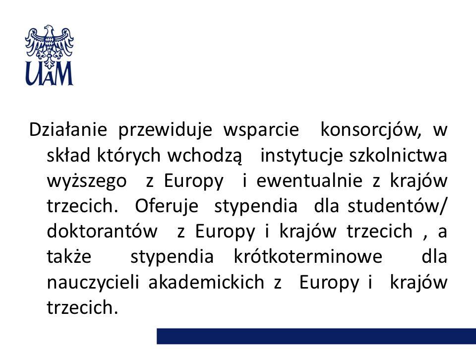 Działanie przewiduje wsparcie konsorcjów, w skład których wchodzą instytucje szkolnictwa wyższego z Europy i ewentualnie z krajów trzecich. Oferuje stypendia dla studentów/ doktorantów z Europy i krajów trzecich , a także stypendia krótkoterminowe dla nauczycieli akademickich z Europy i krajów trzecich.