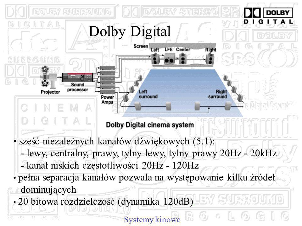 Dolby Digital sześć niezależnych kanałów dźwiękowych (5.1):