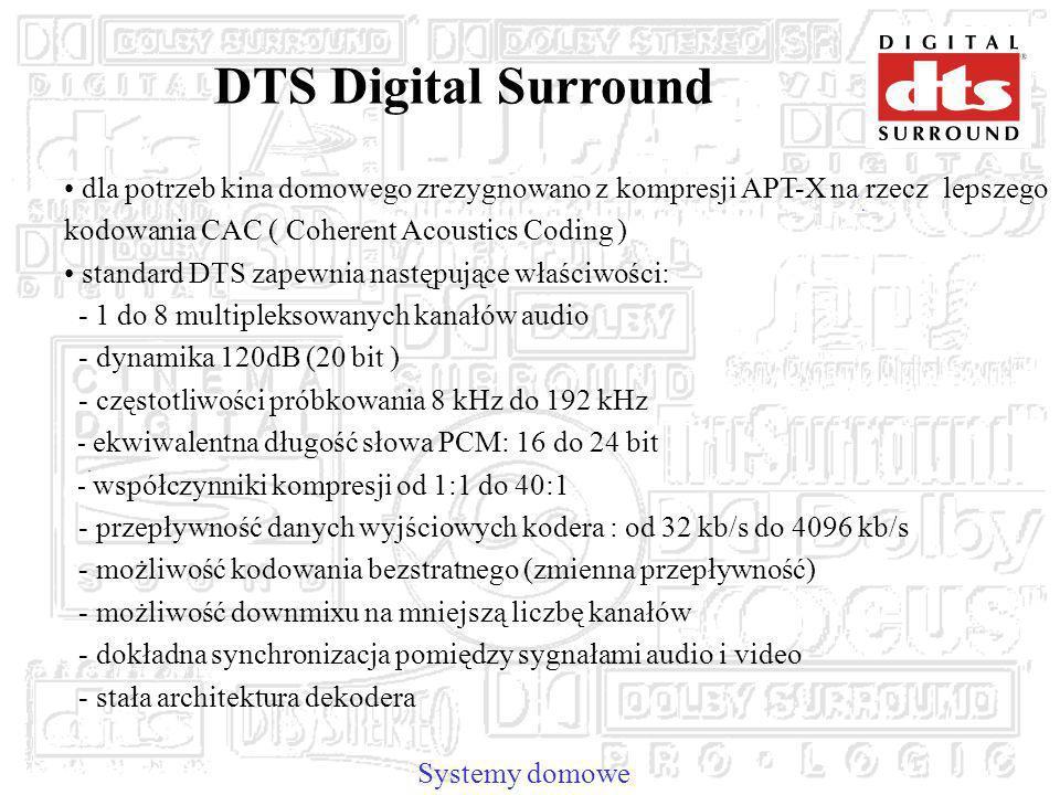 DTS Digital Surround dla potrzeb kina domowego zrezygnowano z kompresji APT-X na rzecz lepszego kodowania CAC ( Coherent Acoustics Coding )