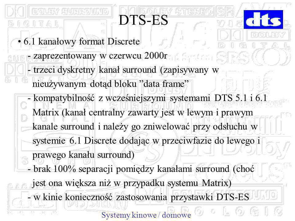 DTS-ES 6.1 kanałowy format Discrete - zaprezentowany w czerwcu 2000r