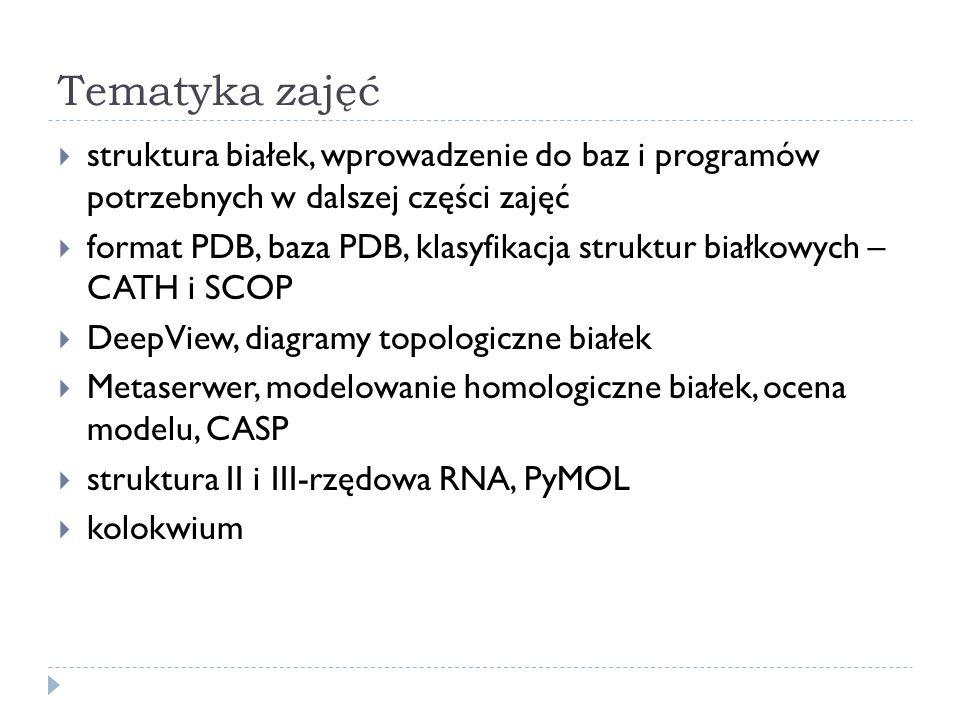 Tematyka zajęć struktura białek, wprowadzenie do baz i programów potrzebnych w dalszej części zajęć.