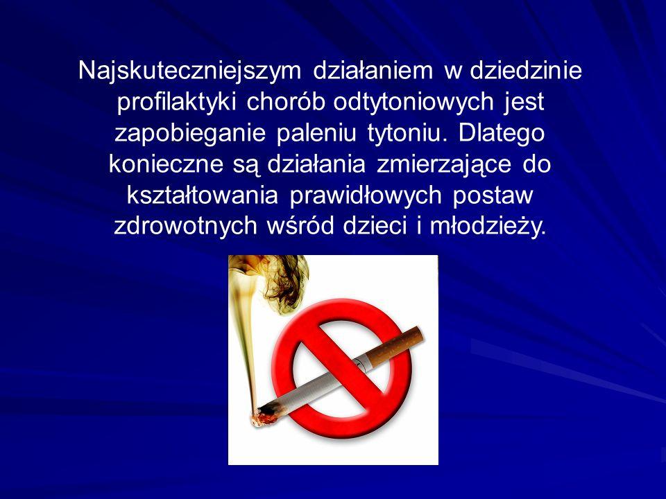Najskuteczniejszym działaniem w dziedzinie profilaktyki chorób odtytoniowych jest zapobieganie paleniu tytoniu.