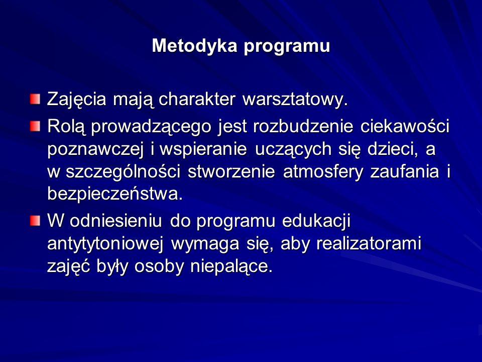 Metodyka programu Zajęcia mają charakter warsztatowy.
