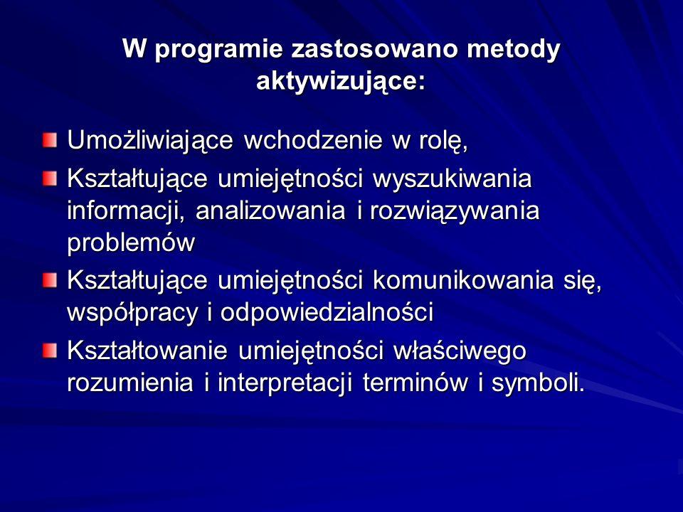 W programie zastosowano metody aktywizujące:
