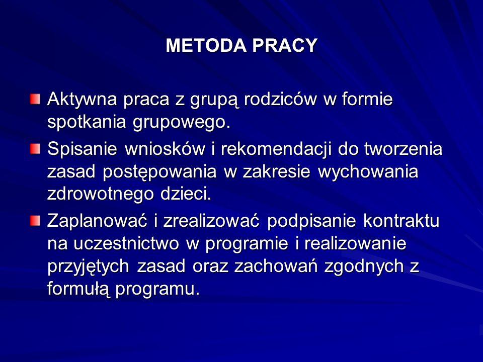 METODA PRACY Aktywna praca z grupą rodziców w formie spotkania grupowego.