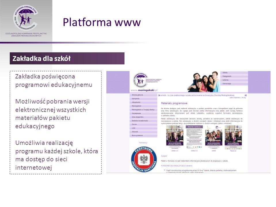 Platforma www Zakładka dla szkół
