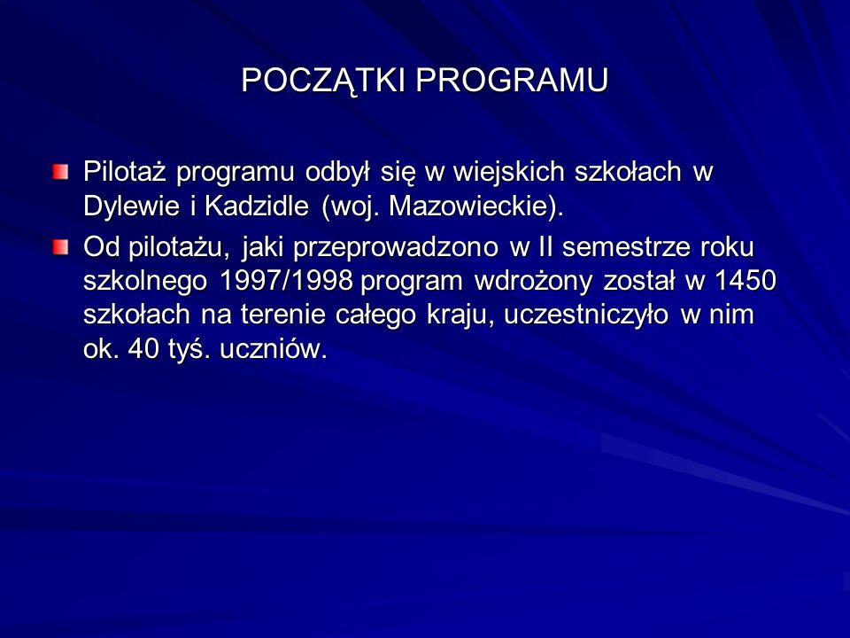 POCZĄTKI PROGRAMU Pilotaż programu odbył się w wiejskich szkołach w Dylewie i Kadzidle (woj. Mazowieckie).