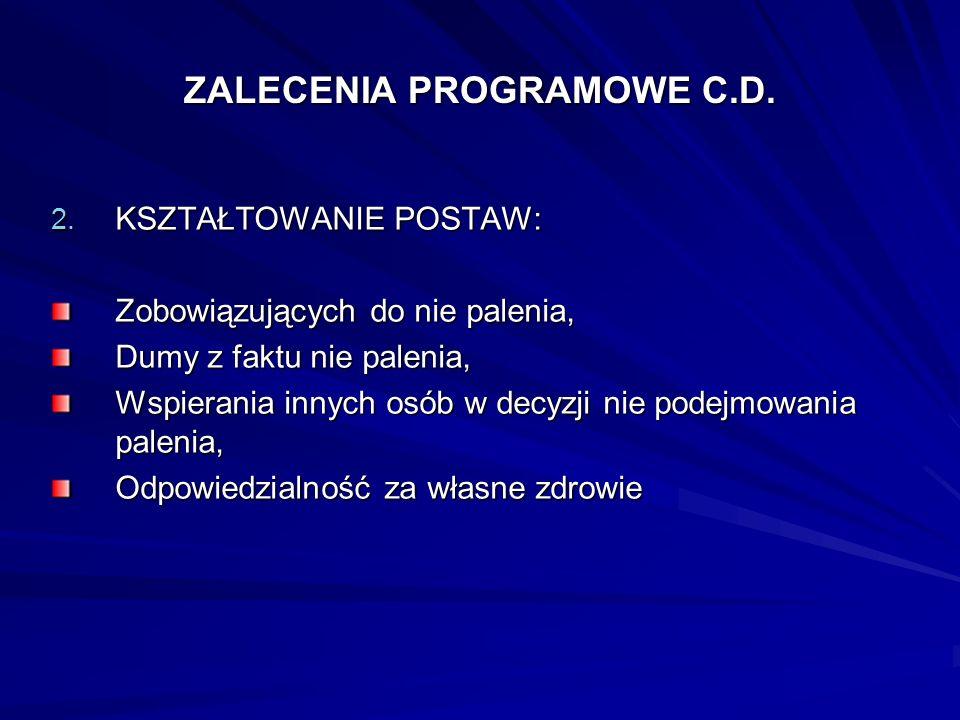 ZALECENIA PROGRAMOWE C.D.