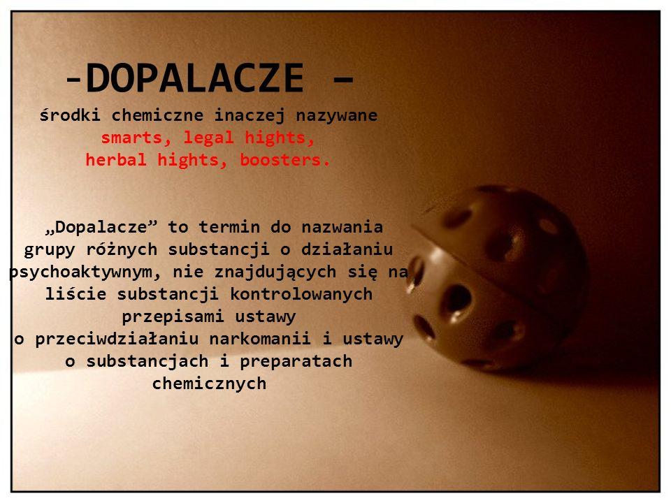 DOPALACZE – środki chemiczne inaczej nazywane smarts, legal hights, herbal hights, boosters.