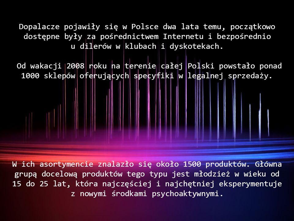 Dopalacze pojawiły się w Polsce dwa lata temu, początkowo dostępne były za pośrednictwem Internetu i bezpośrednio u dilerów w klubach i dyskotekach.
