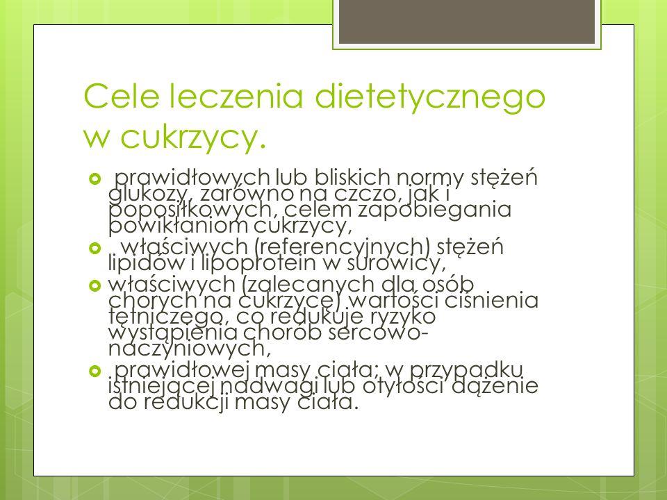 Cele leczenia dietetycznego w cukrzycy.