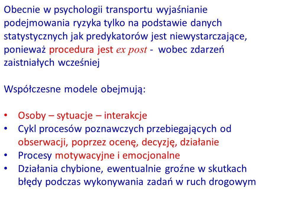 Obecnie w psychologii transportu wyjaśnianie podejmowania ryzyka tylko na podstawie danych statystycznych jak predykatorów jest niewystarczające, ponieważ procedura jest ex post - wobec zdarzeń zaistniałych wcześniej