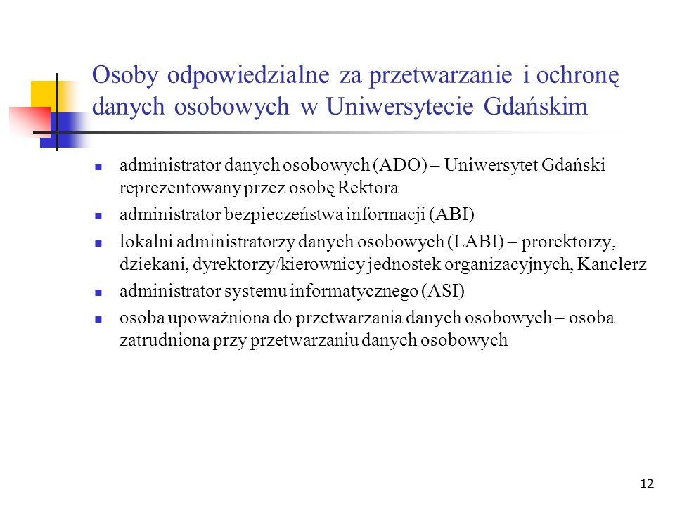 Osoby odpowiedzialne za przetwarzanie i ochronę danych osobowych w Uniwersytecie Gdańskim