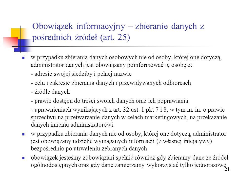 Obowiązek informacyjny – zbieranie danych z pośrednich źródeł (art. 25)