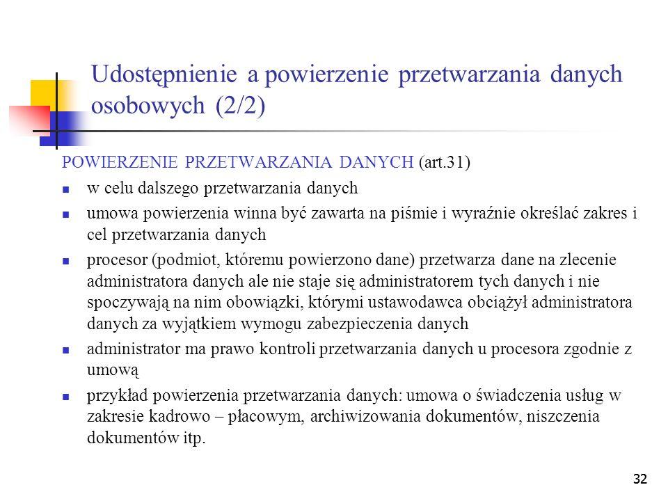 Udostępnienie a powierzenie przetwarzania danych osobowych (2/2)