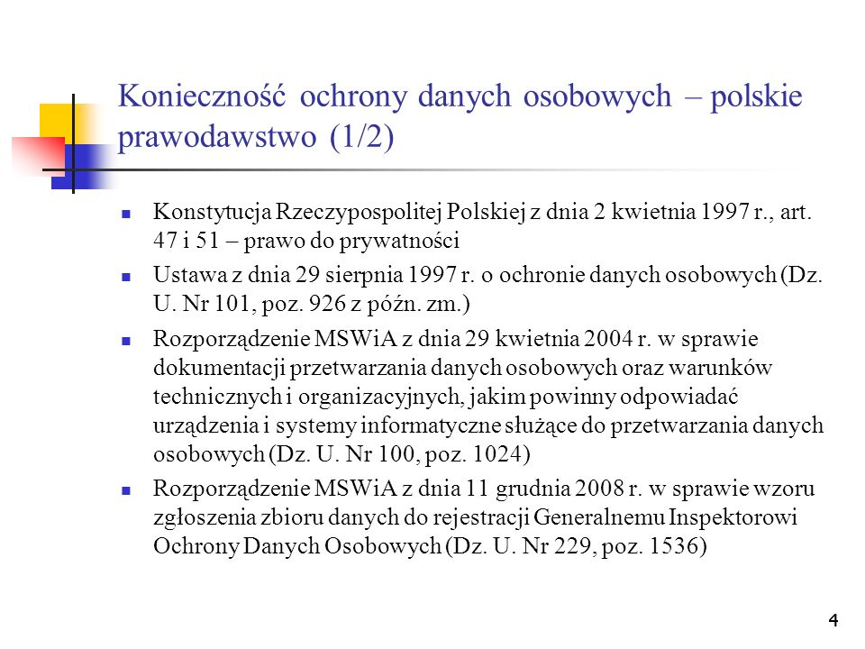 Konieczność ochrony danych osobowych – polskie prawodawstwo (1/2)