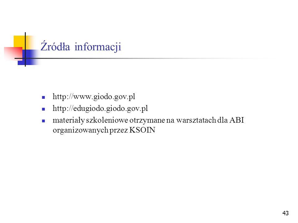 Źródła informacji http://www.giodo.gov.pl http://edugiodo.giodo.gov.pl
